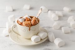Free Mug Of Hot Chocolate With Marshmallows, On Light Wooden Backgrou Stock Photos - 102702663