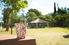 Mug in park. On a sunny day Stock Photo