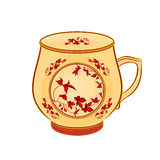 Mug of part of porcelain whit red flowers. Vector illustration without gradients Stock Photography