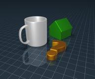 Mug, question mark and house model Stock Photo