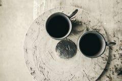 Mug raw ceramic (Do not burn)on blur background Royalty Free Stock Image