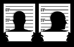 Mug shot. Silhouettes in two positions Royalty Free Stock Photos