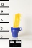 Mug shot spaghetti. A mug shot of a crazy cup of italian spaghetti Stock Photo