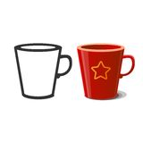 Mug and silhouette of mug. Royalty Free Stock Photos