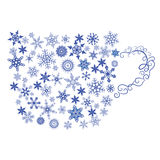 Mug silhouette from snowflakes Stock Photography