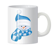 Mug  with snowman portrait. Stock Photography