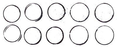Mug Stains in Black. 10 mug stain rings done with black ink/paint Royalty Free Stock Photography