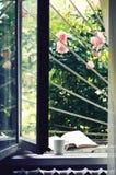 Mug of tea and book on windowsill against garden Stock Photos