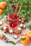Mug of tea with christmas cookies Stock Images