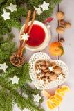 Mug of tea with christmas cookies Royalty Free Stock Photography