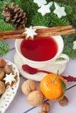 Mug of tea with christmas cookies Royalty Free Stock Image