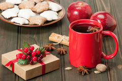 Mug Of Tea Or Coffee. Apples, Spices. Gingerbread Stock Images