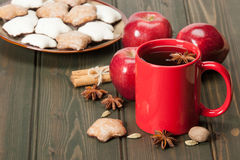 Mug Of Tea Or Coffee. Apples, Spices. Gingerbread Stock Photos