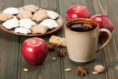 Mug Of Tea Or Coffee. Apples, Spices. Gingerbread Royalty Free Stock Photo