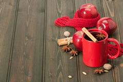 Mug Of Tea Or Coffee. Apples, Spices. Natural Wool Stock Photos