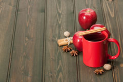 Mug Of Tea Or Coffee. Apples, Spices. Wooden Royalty Free Stock Photos