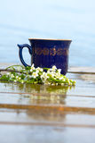 Mug of tea of coffee with cherry blossom Royalty Free Stock Images