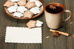 Mug Of Tea Or Coffee. Spices. Gingerbread Star Royalty Free Stock Photo