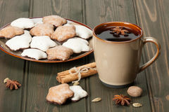 Mug Of Tea Or Coffee. Spices. Gingerbread Star Stock Image