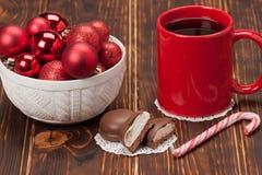 Mug Of Tea Or Coffee. Sweets. Christmas Royalty Free Stock Photos