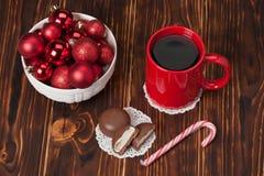 Mug Of Tea Or Coffee. Sweets. Christmas Stock Photography