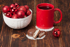 Mug Of Tea Or Coffee. Sweets. Christmas Royalty Free Stock Photography