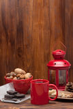Mug Of Tea Or Coffee. Sweets And Spices. Nuts Stock Image