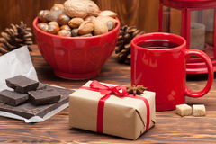 Mug Of Tea Or Coffee. Sweets And Spices. Nuts Royalty Free Stock Images