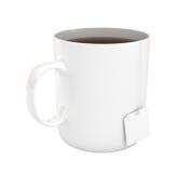 Mug of tea, isolated on white, 3d illustration Royalty Free Stock Photography