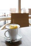 Mug of tea with lemon Royalty Free Stock Images