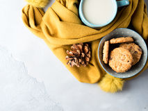 Mug of tea with milk and cookies in winter scarf. Top view Stock Images