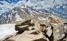 Mug with tea in the mountains Royalty Free Stock Images