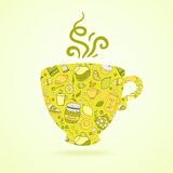 Mug with tea pattern isolated  background Royalty Free Stock Photography