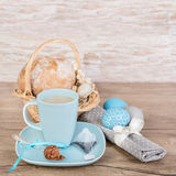 Mug of tea on table decorated for Easter Royalty Free Stock Photos