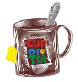 Mug with teaspoon and tea bag. Decorative brown transparency mug with teaspoon and tea bag Stock Photography