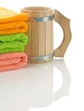 Mug with towels Stock Photography