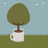 Mug tree. Landscape background with tree growing out of mug Royalty Free Stock Photography