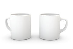 Mug on White. Two white coffee mugs isolated over a white background vector illustration