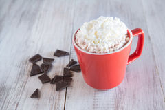 Mug of Winter Hot Chocolate Beverage With Whipped Cream Royalty Free Stock Photography