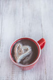 Mug of Winter Hot Chocolate With Whipped Cream Heart Stock Image