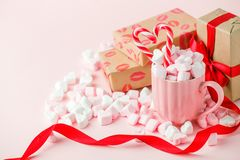 Mug With Candy And Marshmallow Hearts, Gift Boxes On Pink Background. Romantic, St Valentines Day Concept, Greeting Card. Seasonal Royalty Free Stock Image