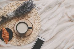 Free Mug With Coffee And Home Decor On Tray Stock Images - 109764424
