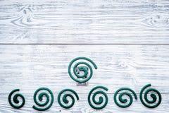 Mugafweermiddel voor openlucht: tuin, de zomerhuis, picknick Groene spiraal op de grijze houten ruimte van het achtergrond hoogst stock foto's