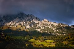 Mugarra mountain in Urkiola. With clouds royalty free stock images