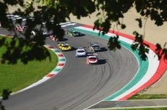 Mugello电路,意大利- 2017年10月7日, :开始C种族#1最后的回合  我 Gran Turismo超级GT3-GT3 库存照片