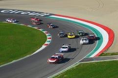 Mugello电路,意大利- 2017年10月7日, :开始C种族#1最后的回合  我 Gran Turismo超级GT3-GT3 免版税库存图片