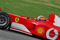 MUGELLO, IT, 2007年11月:未知数遇到与现代法拉利F1在Finali Mondiali法拉利期间2007年在它的mugello电路 库存图片