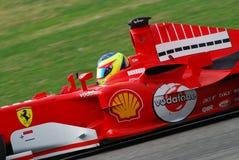 MUGELLO, IT, 2007年11月:未知数遇到与现代法拉利F1在Finali Mondiali法拉利期间2007年在它的mugello电路 图库摄影