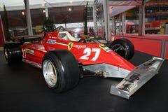 MUGELLO, IT, 2017年10月:法拉利F1 126 CK吉尔・维伦纽夫和迪迪埃・皮罗尼1981年小牧场展示的法拉利周年1 免版税库存照片