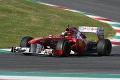 MUGELLO, IT, 2017年10月:现代时代在Mugello电路的法拉利F1在Finali Mondiali法拉利期间的意大利2017年 免版税图库摄影